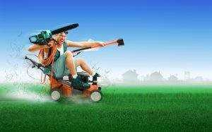 clipart of a man riding on top of a push mower with a leaf blower and axe