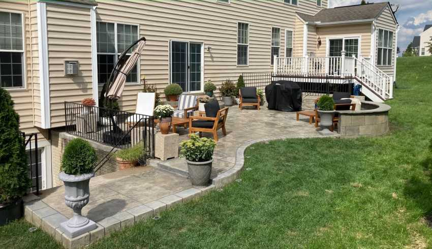 stamped concrete patio full view